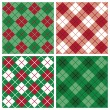 Stock Vector: Argyle-Plaid Pattern in Red and Green
