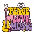Peace-Love-Music_Brights — Vettoriali Stock