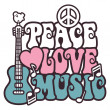 Peace-Love-Music in Pink and Blue — Vector de stock
