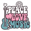Peace-Love-Music in Pink and Blue — 图库矢量图片
