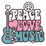 Frieden-liebe-Musik in rosa und blau — Stockvektor