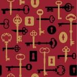 Skeleton Keys and Locks Pattern in Red — Stock Vector