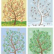 Stock Vector: Tree in Four Seasons