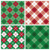 Argyle-Plaid Pattern in Red and Green — Stock Vector