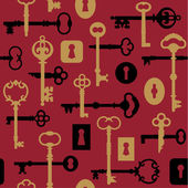 Skeleton Keys and Locks Pattern in Red — Stock Vector