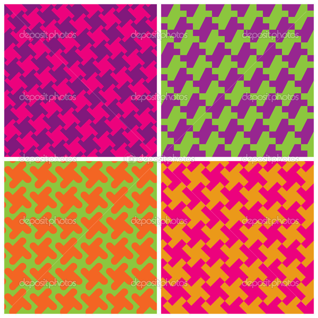 Vector collection of four different seamless houndstooth patterns in bright retro colors. — Stock Vector #10310947