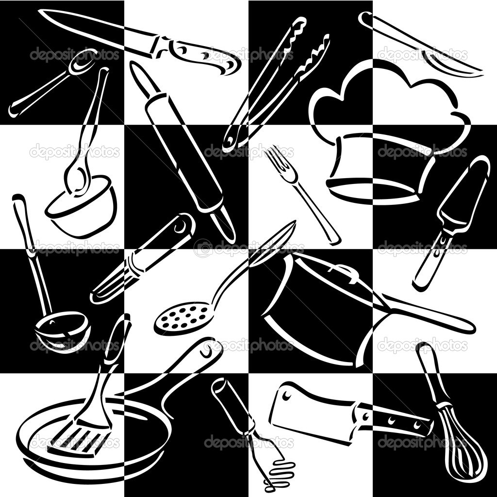 Kitchen Tools Checkerboard — Stock Illustration © Lisa Fischer #
