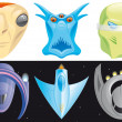 Alien and spaceships icons — Stock Photo