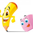 Pencil and eraser cartoon characters — Stock Photo