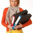 Attractive young girl carries file folders — Stock Photo #10235709