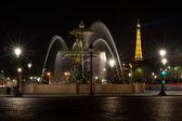 Noht photo of Fountain at Place de la concorde, Paris France — Stock Photo