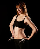 Young fit girl working out with weights - Portrait of pretty you — Stock Photo
