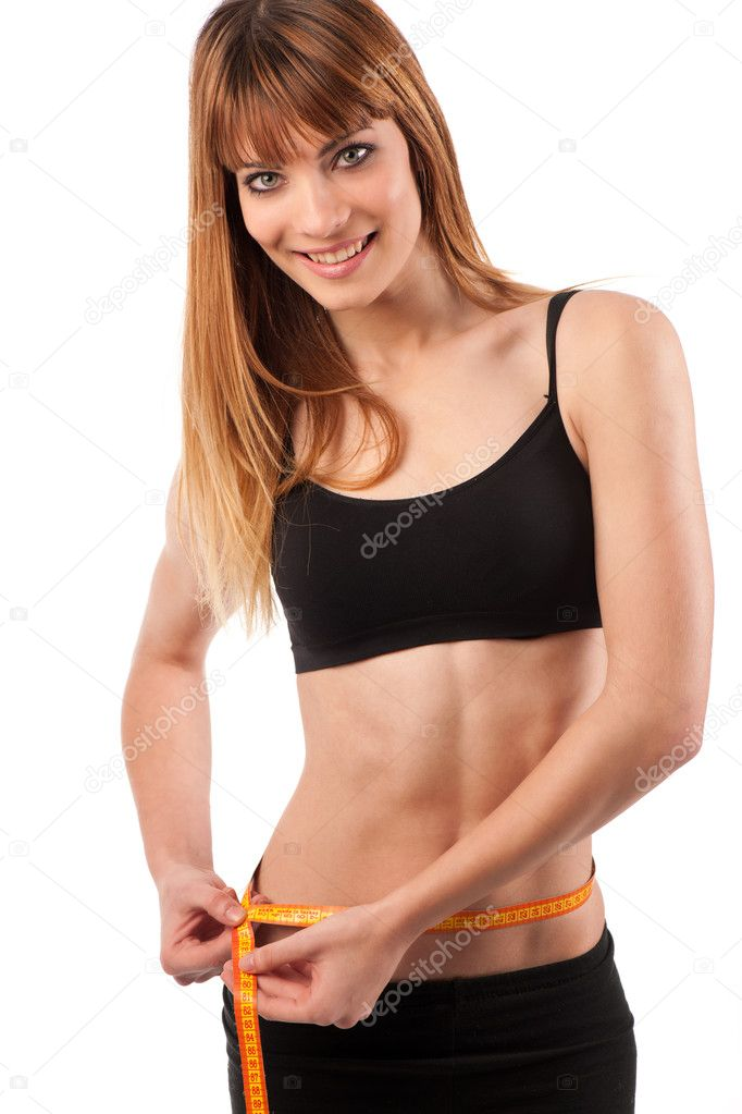 Woman measuring perfect shape of beautiful thigh. — Stock Photo #8878390