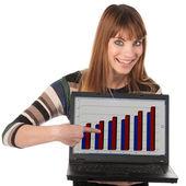 Femme jeune entreprise mignon avec ordinateur portable — Photo