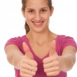 Lovely teenage girl with thumbs up — Stock Photo #9890681