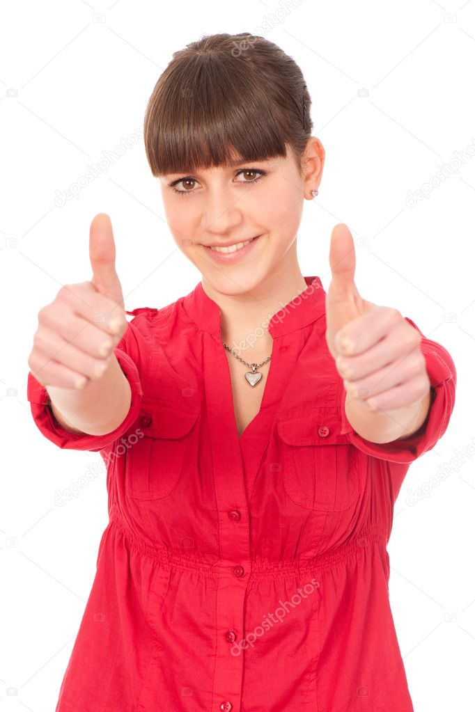 Lovely teenage girl with thumbs up — Stock Photo #9890687