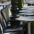 Coffee terrace with tables and chairs - Stock Photo