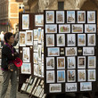 Street market with pictures of Belgium — Stock Photo