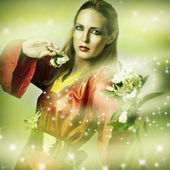 Fashion fantasy portrait of magic woman — Stock Photo