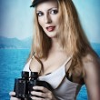 Fashion portrait of beautiful pinup girl — Stock Photo