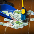 Stock Photo: Sweeping euro money banknotes