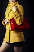 Spring or autumn coat and red bag — Stock Photo