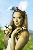 Sexy woman easter bunny — Stock Photo