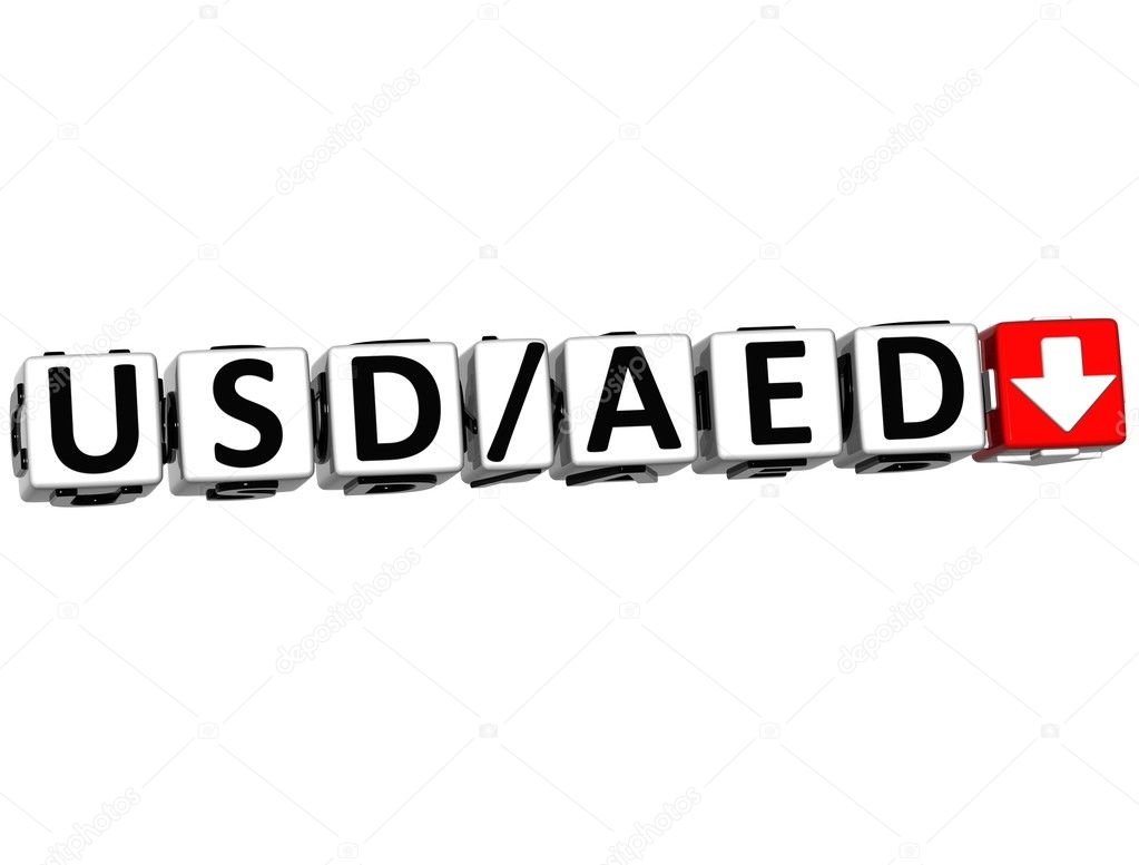 3D Currency USD AED rate concept symbol button on white background — Stock Photo #10019580