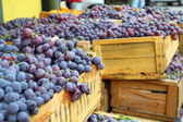 Red grapes at the local market in Valparaiso, Chile. — Stock Photo