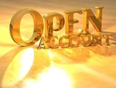 3D Open account Gold text — Stock Photo