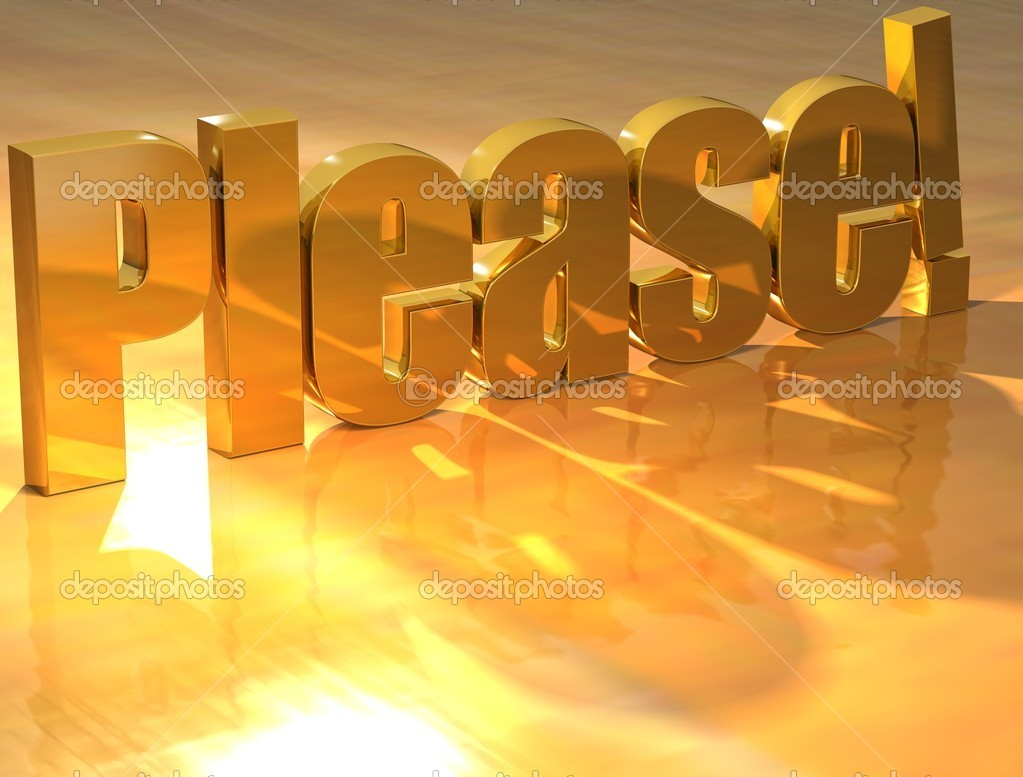3D Please Gold text over yellow background — Stock Photo #10546911