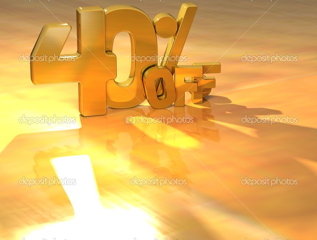 3D 40 Percent Gold Text over yellow background — Foto Stock #10550149