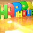 Word Happy Hour on yellow background - Zdjęcie stockowe