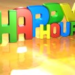 Word Happy Hour on yellow background - Stok fotoğraf