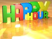 Word Happy Hour on yellow background — Zdjęcie stockowe