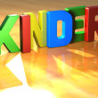 Stock Photo: Word Kinder on yellow background