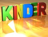 Word Kinder on yellow background — Stock Photo