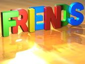 Word Friends on yellow background — Stock Photo