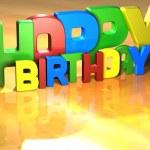 Word Happy Birthday on yellow background — Stock Photo #10716739