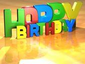 Word Happy Birthday on yellow background — Stock Photo