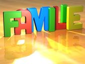 Word Familie on yellow background — Stock Photo
