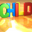 Word Child on yellow background — Stock Photo