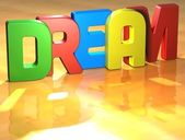 Word Dream on yellow background — Stock Photo