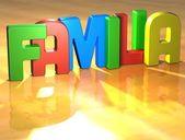 Word Familia on yellow background — Stock Photo