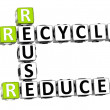 3d reduce reuse recycle crossword — Stock Photo