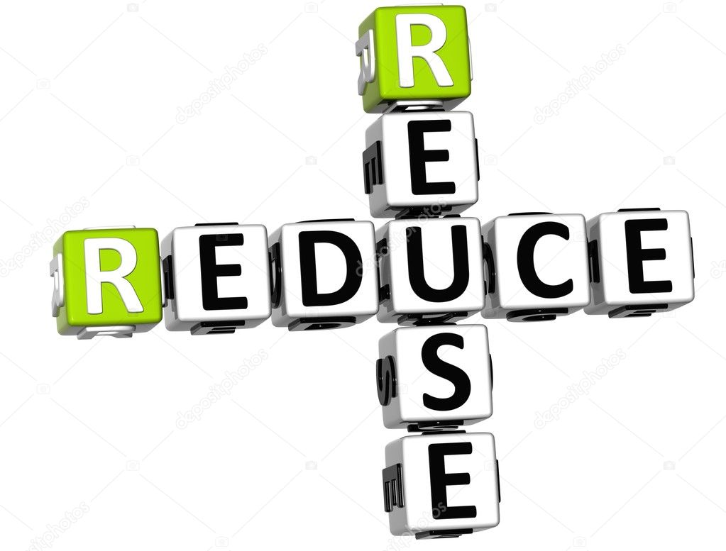 3D Reduce Reuse Crossword on white background  Stock Photo #8050104