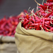 Red paprica in traditional vegetable market in India. — Stok fotoğraf