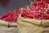 Red paprica in traditional vegetable market in India. — Stock Photo