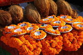 Floral arrangment for holi festival and religious offerings in india. — Stock Photo