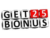 3D Get 25 Bonus Credits Block Letters — Stock Photo